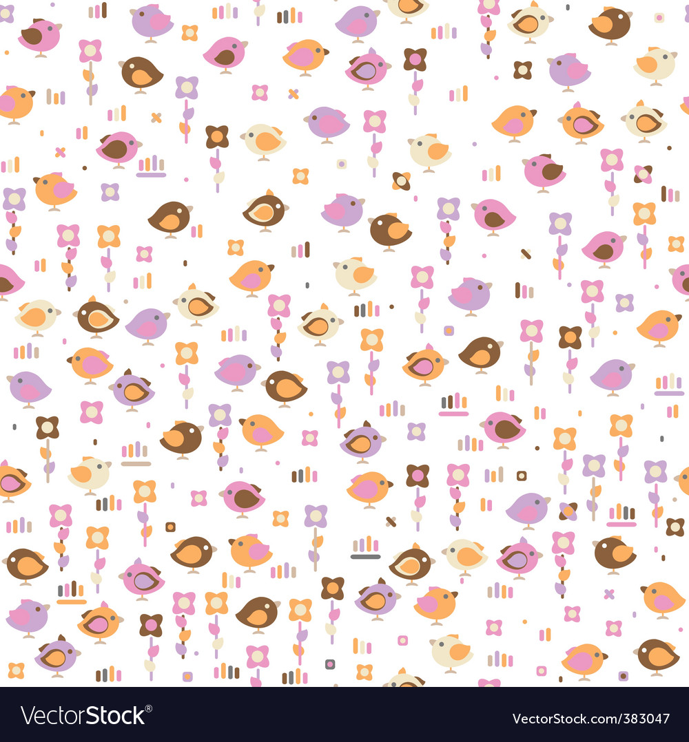 Seamless pattern of cute birds vector