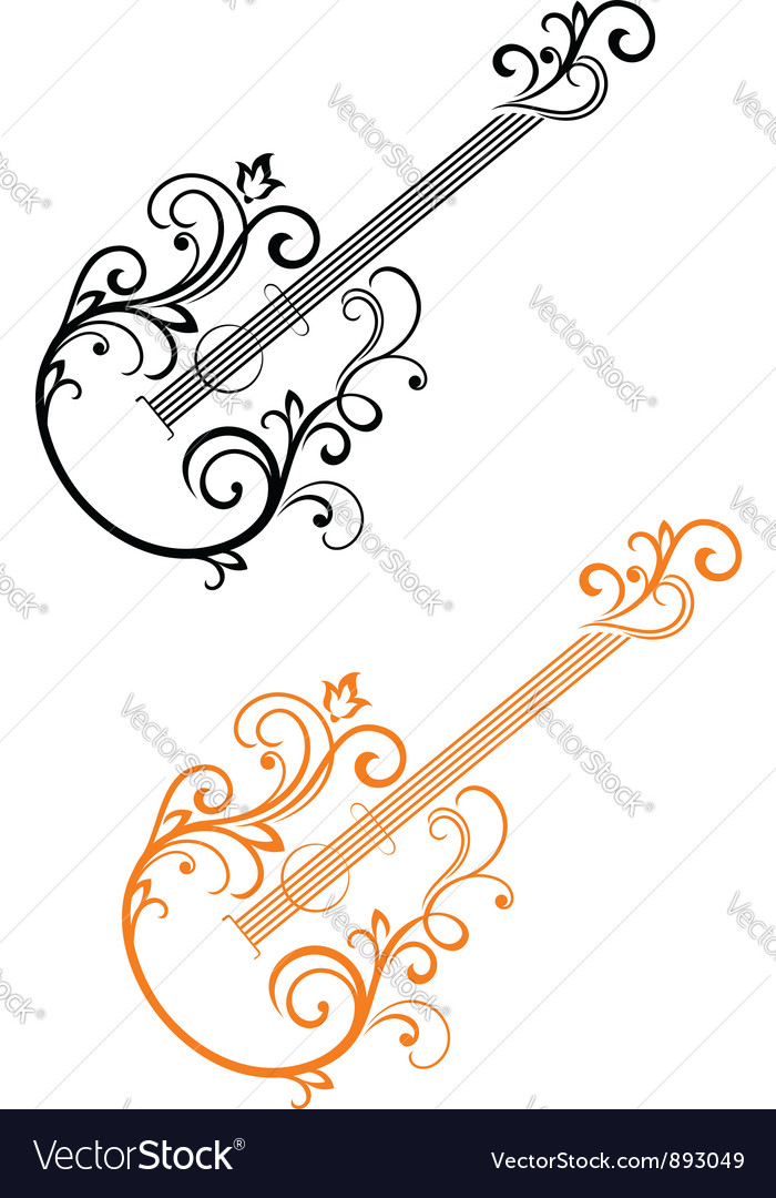 Guitar with floral elements vector