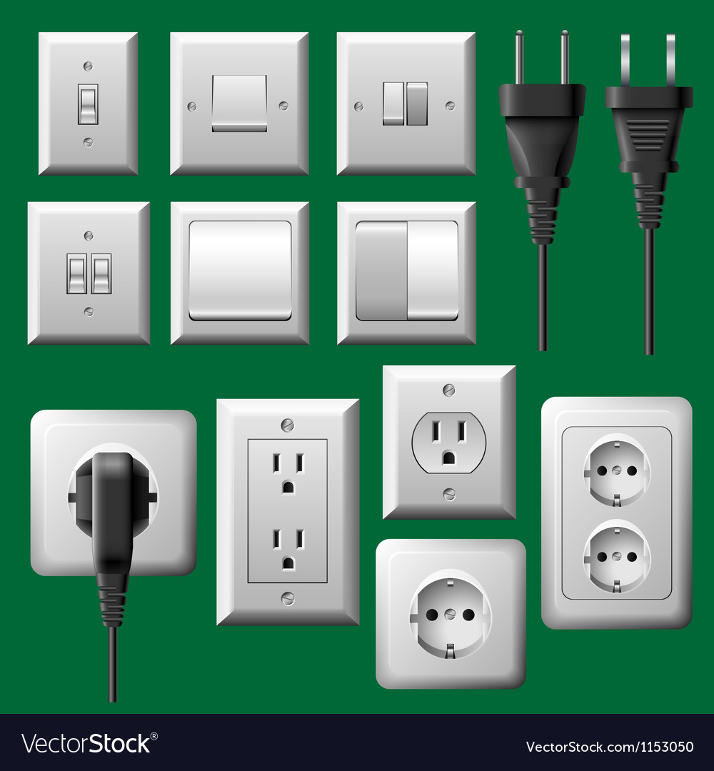Power outlet light switch and electrical plug set vector
