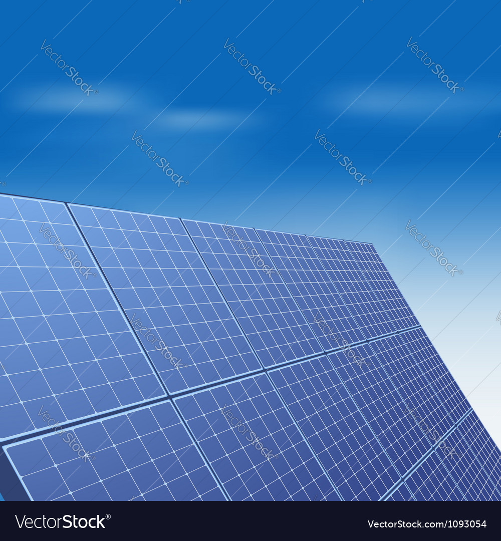 Solar panel against blue sky vector