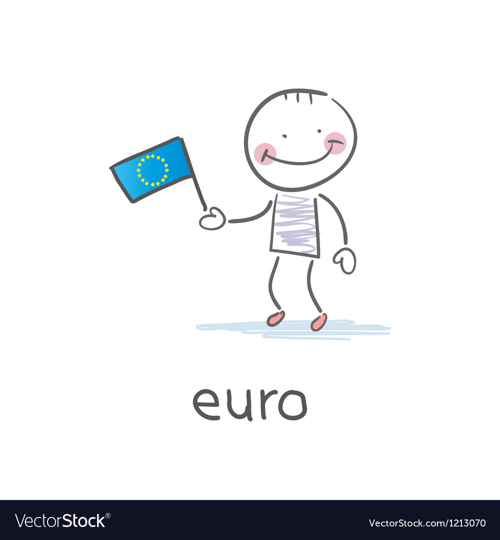 Man holding euro flag vector