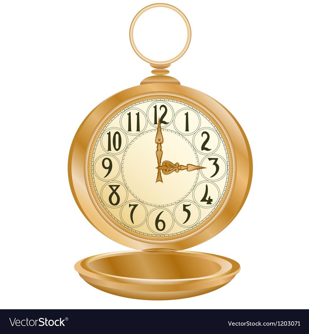 Golden pocket watch vector