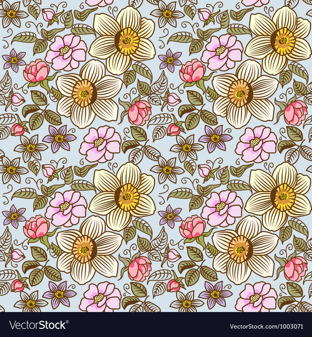 Many flowers seamless vector
