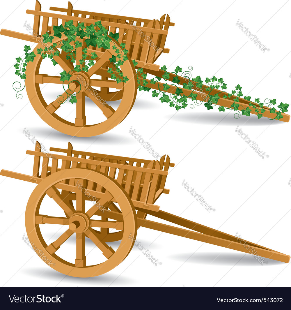 Vintage wooden cart vector