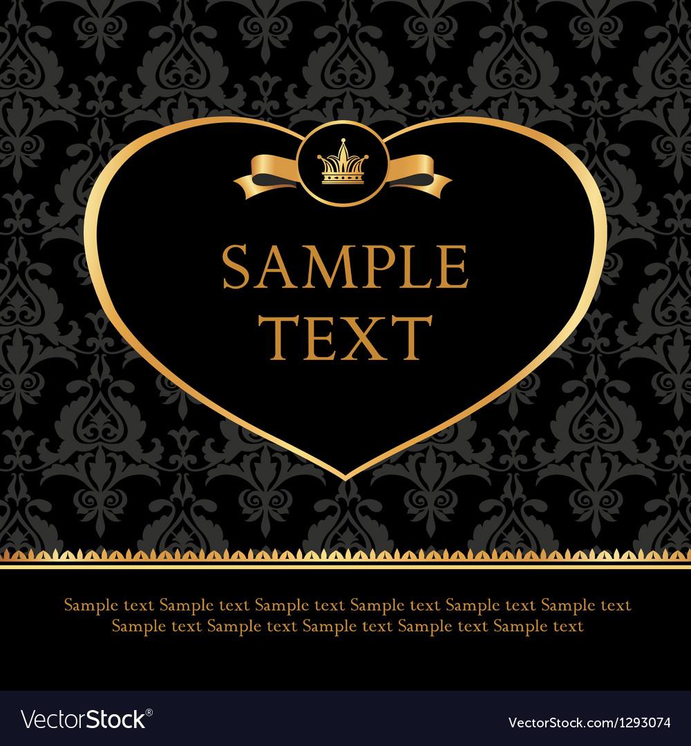 Golden label heart on damask black background vector