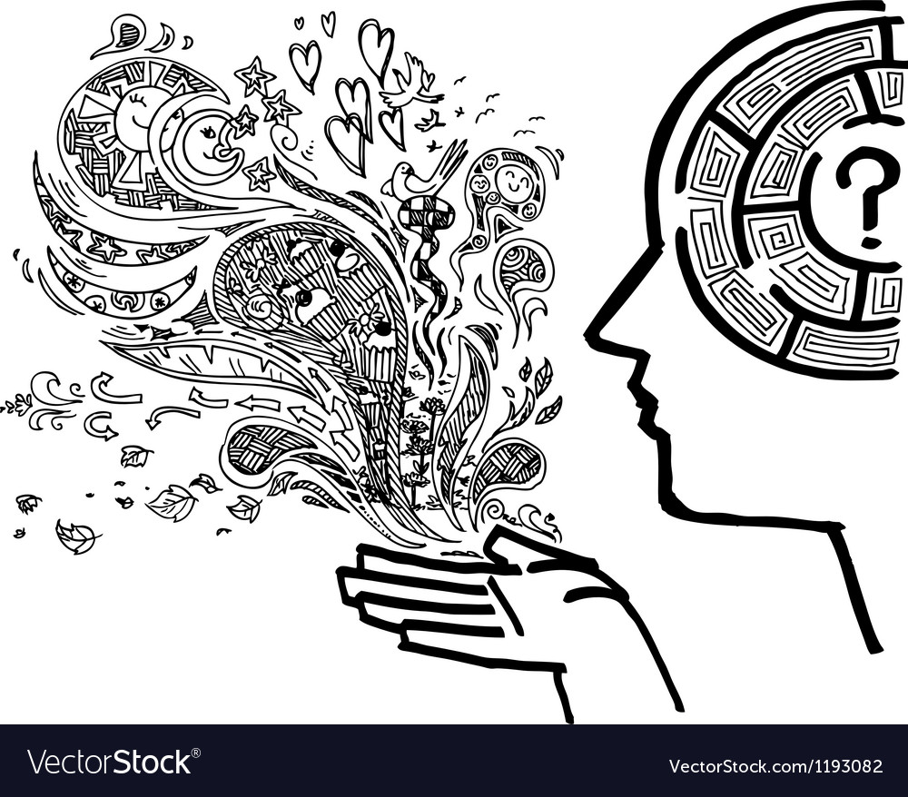 Concept image with man profile and maze brain vector