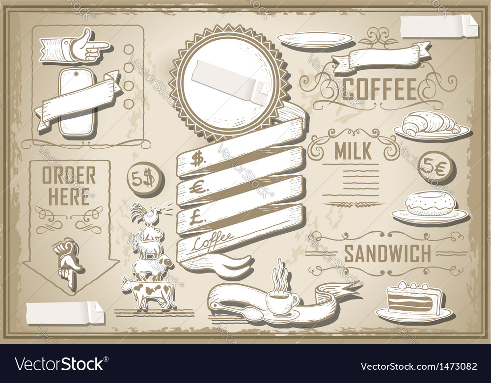Vintage graphic element for bar menu vector
