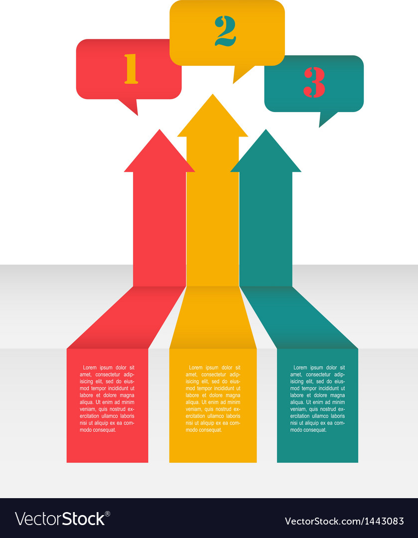 Perspective layout design of arrows and speech vector