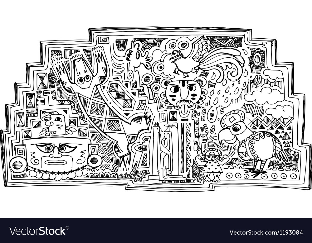 Black and white maya style drawing vector
