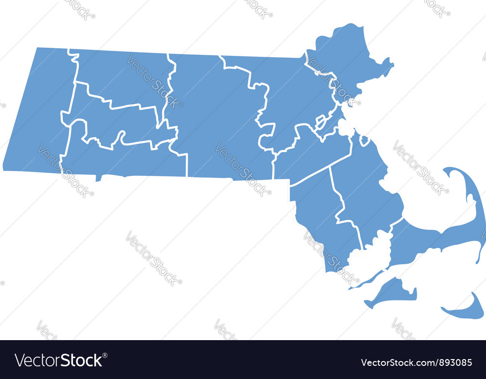 State map of massachusetts by counties vector