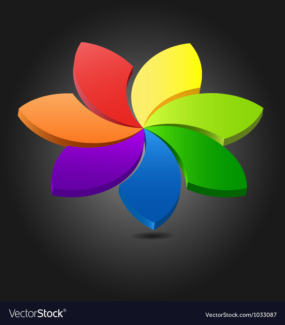 3d flower chromatic wheel vector
