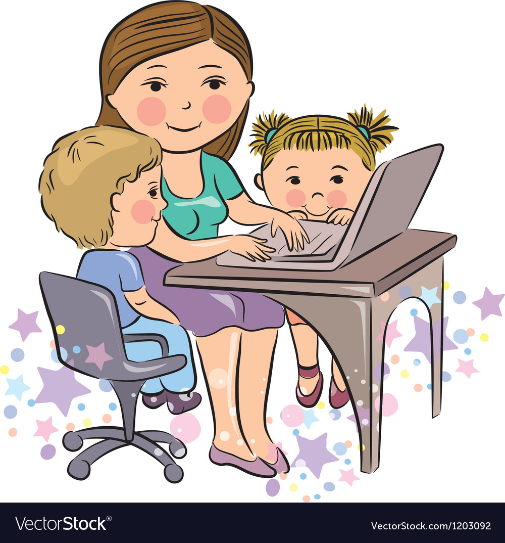 Busy mother works with kids vector