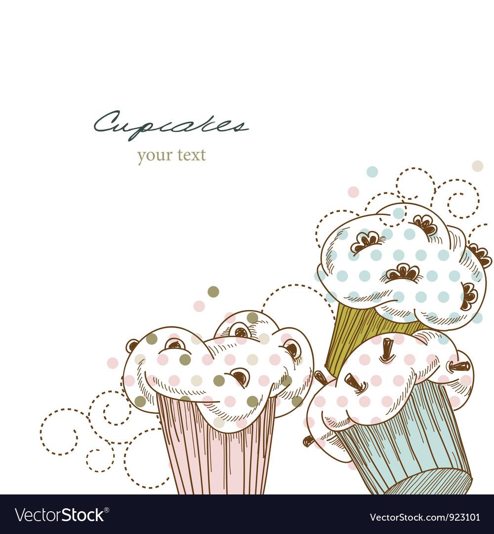Cupcakes corner vector