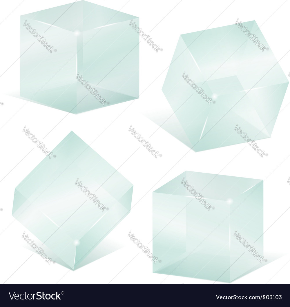 Transparent glass cubes vector