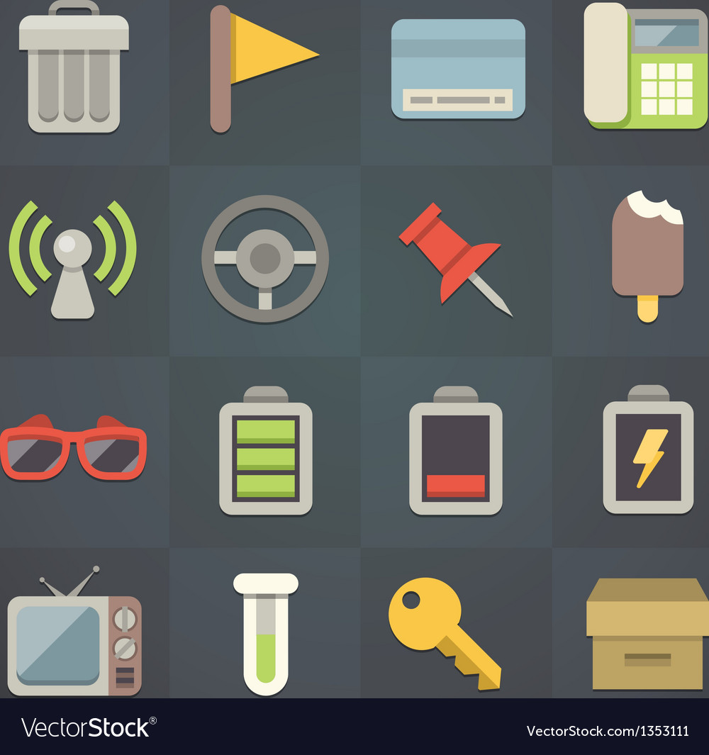 Universal flat icons for applications set 7 vector