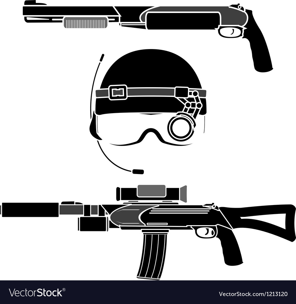 Combat helmet and weapons vector