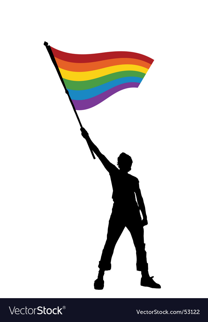 Man holding a peace flag vector
