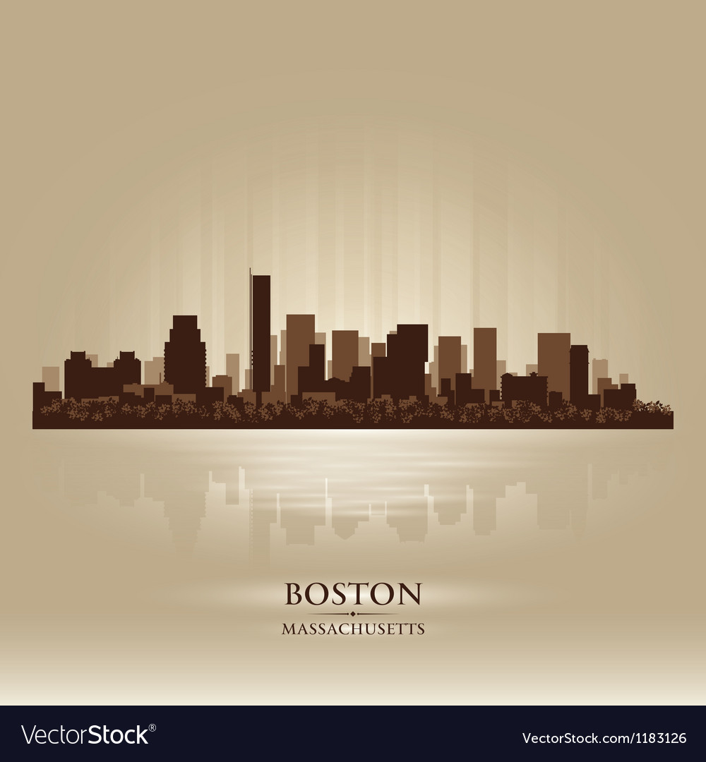 Boston massachusetts skyline city silhouette vector