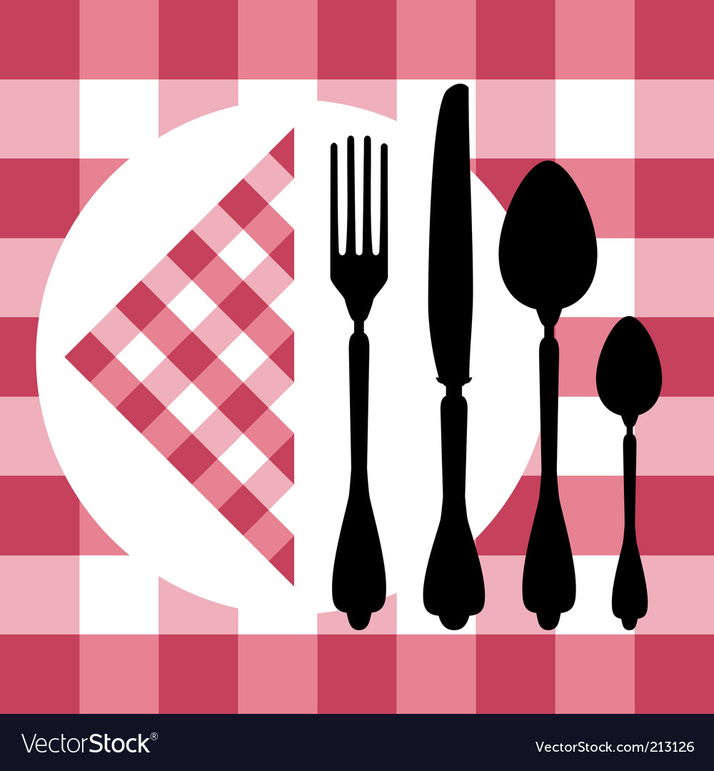 Menu design with cutlery silhouettes vector