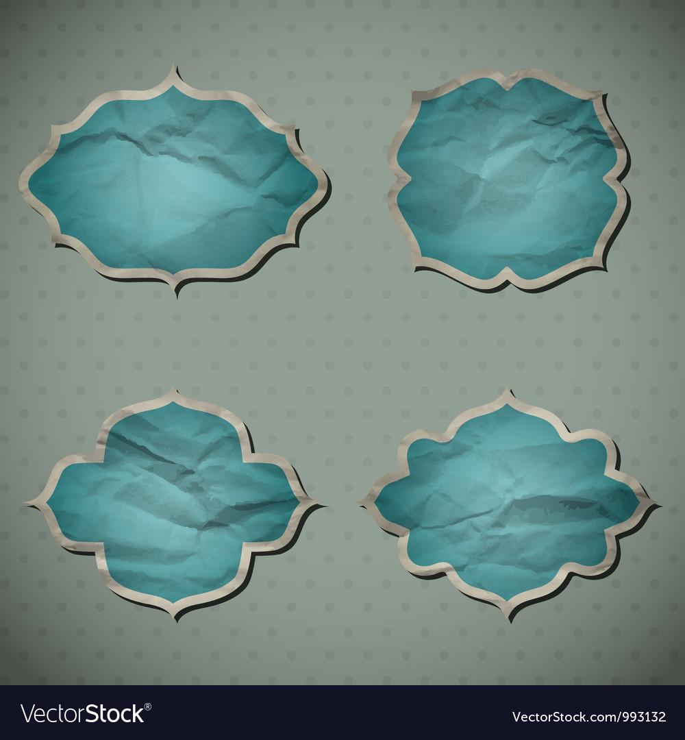 Blue crumpled frames vector