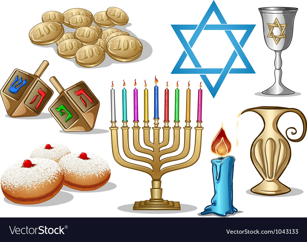 Hanukkah symbols pack vector