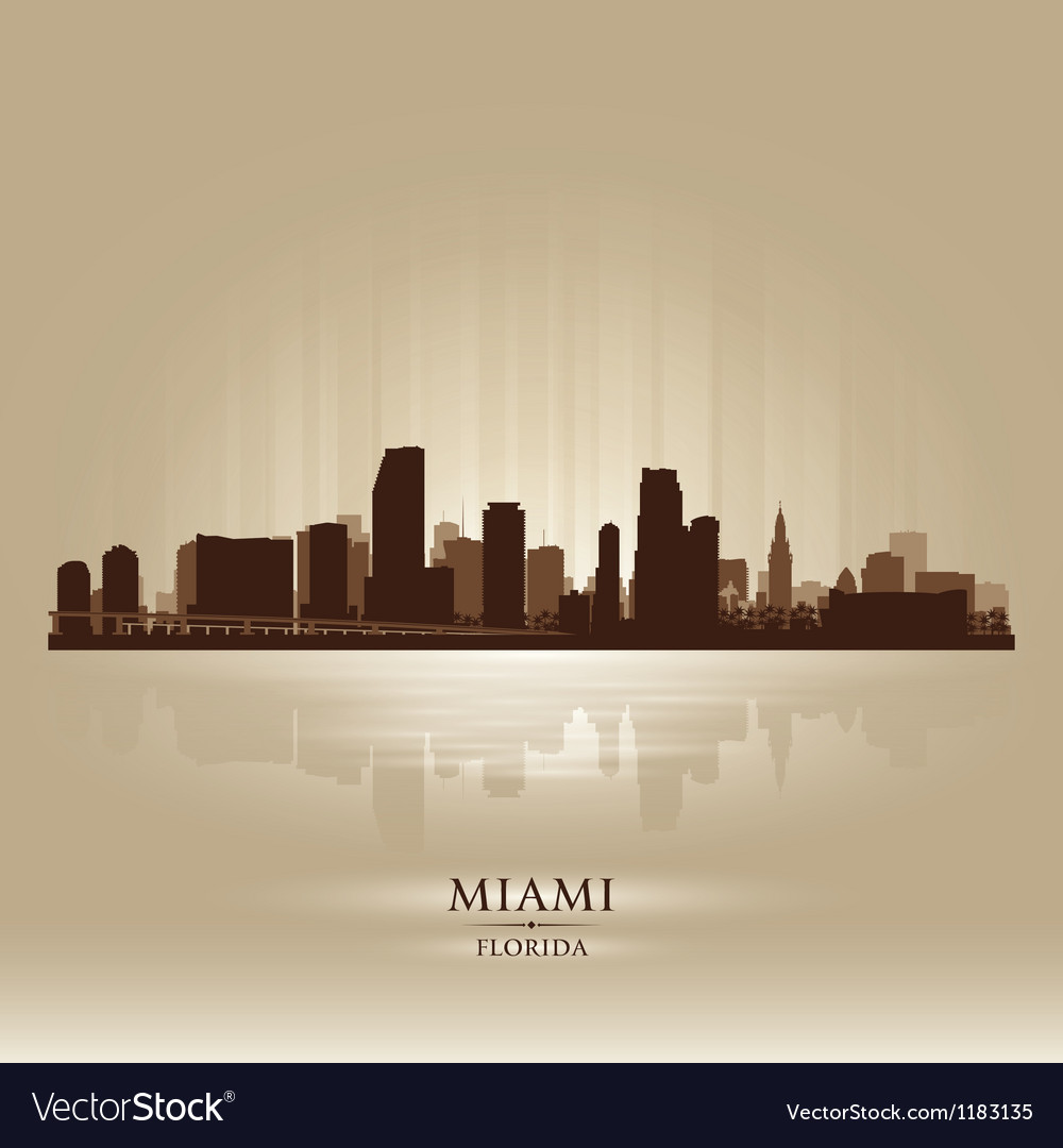 Miami florida skyline city silhouette vector