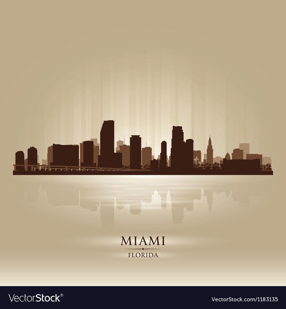 Miami florida skyline city silhouette vector