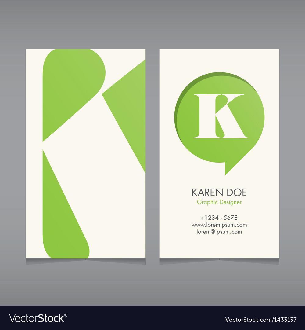Business card template letter k vector