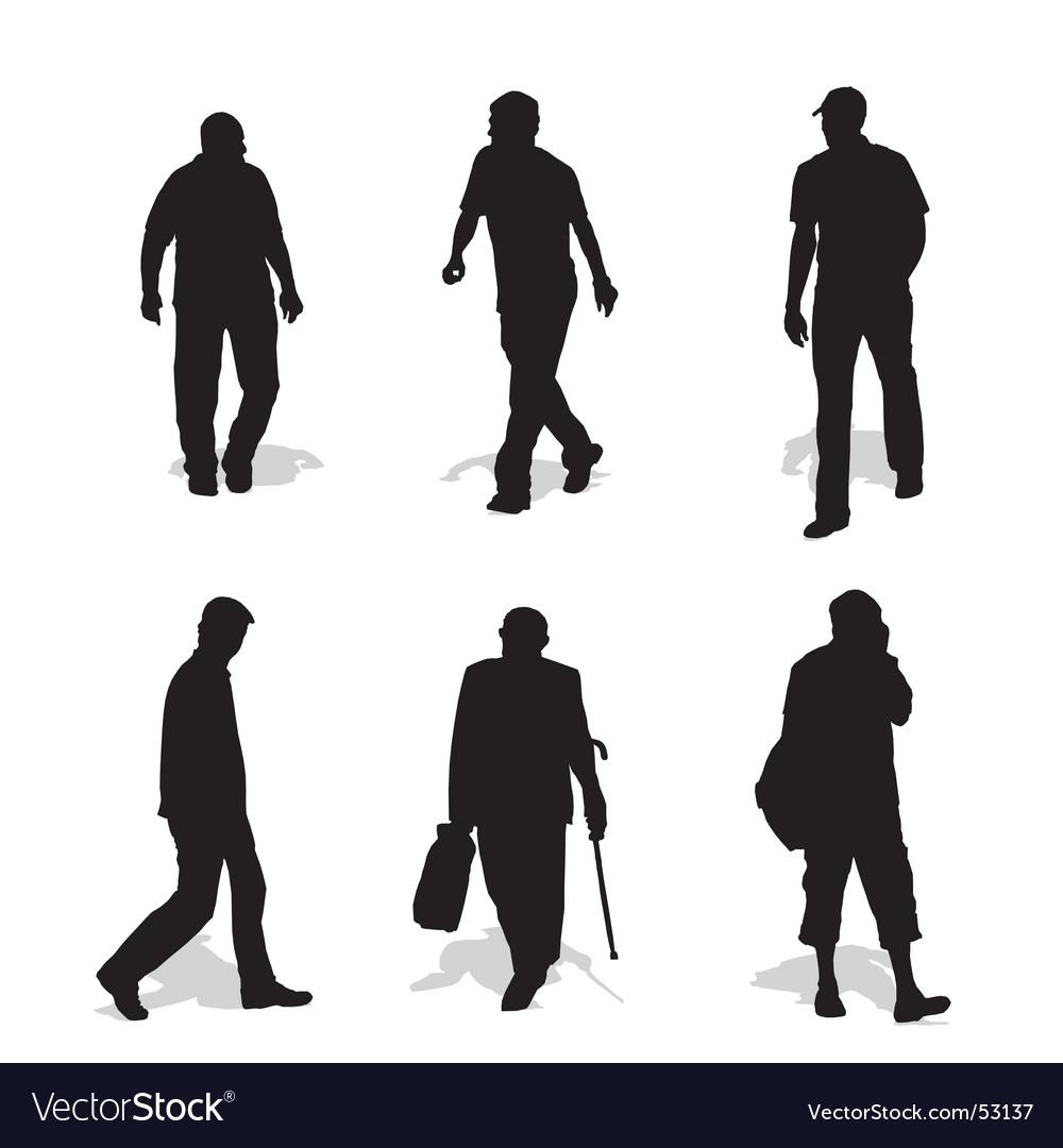 Men walking silhouettes vector