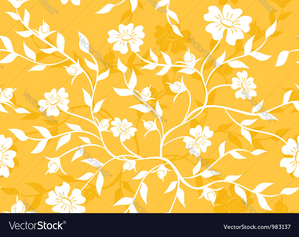Orange seamless floral texture vector