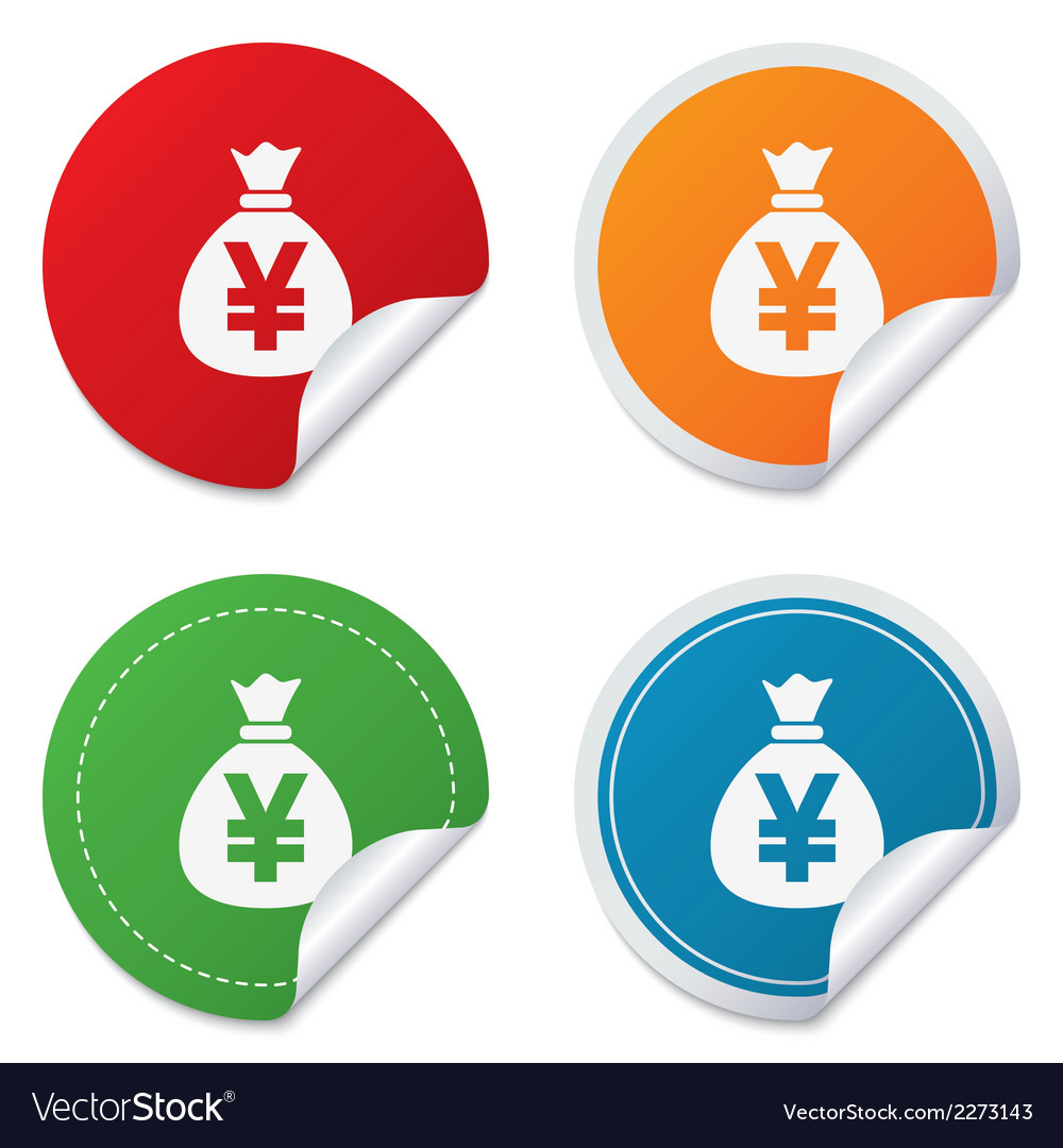 Money bag sign icon yen jpy currency vector by Blankstock - Image
