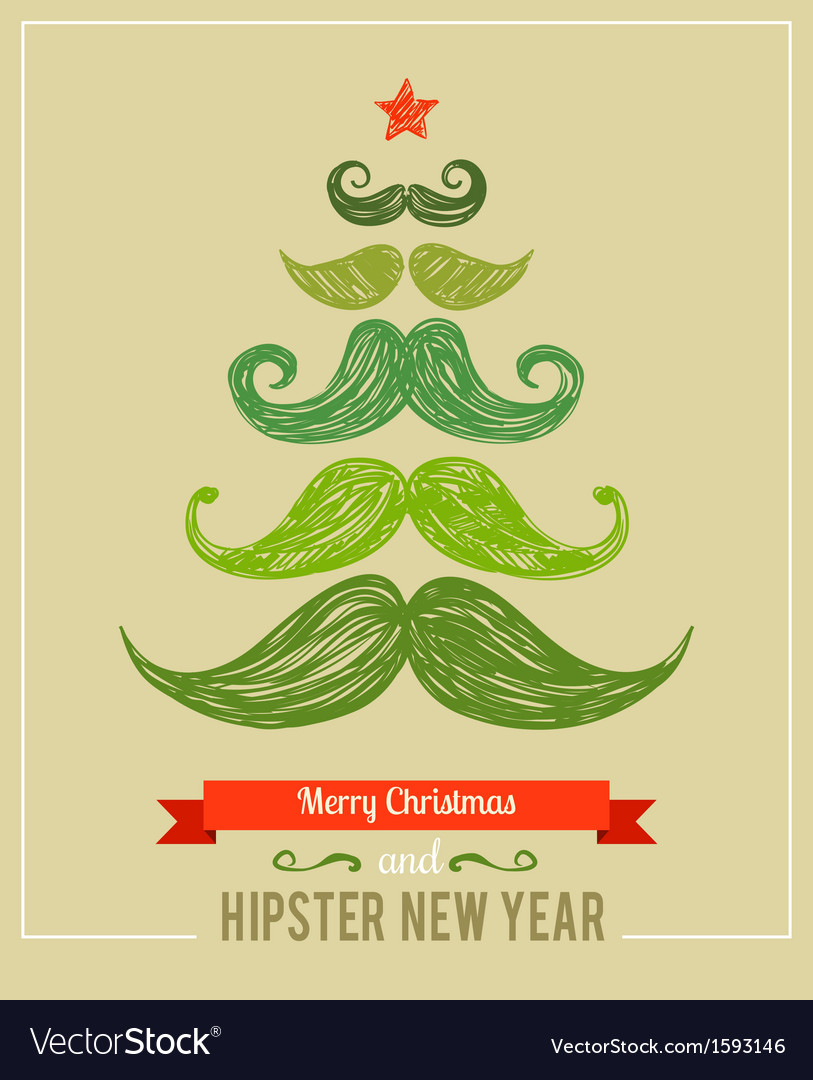 Hipster new year and merry christmas vector