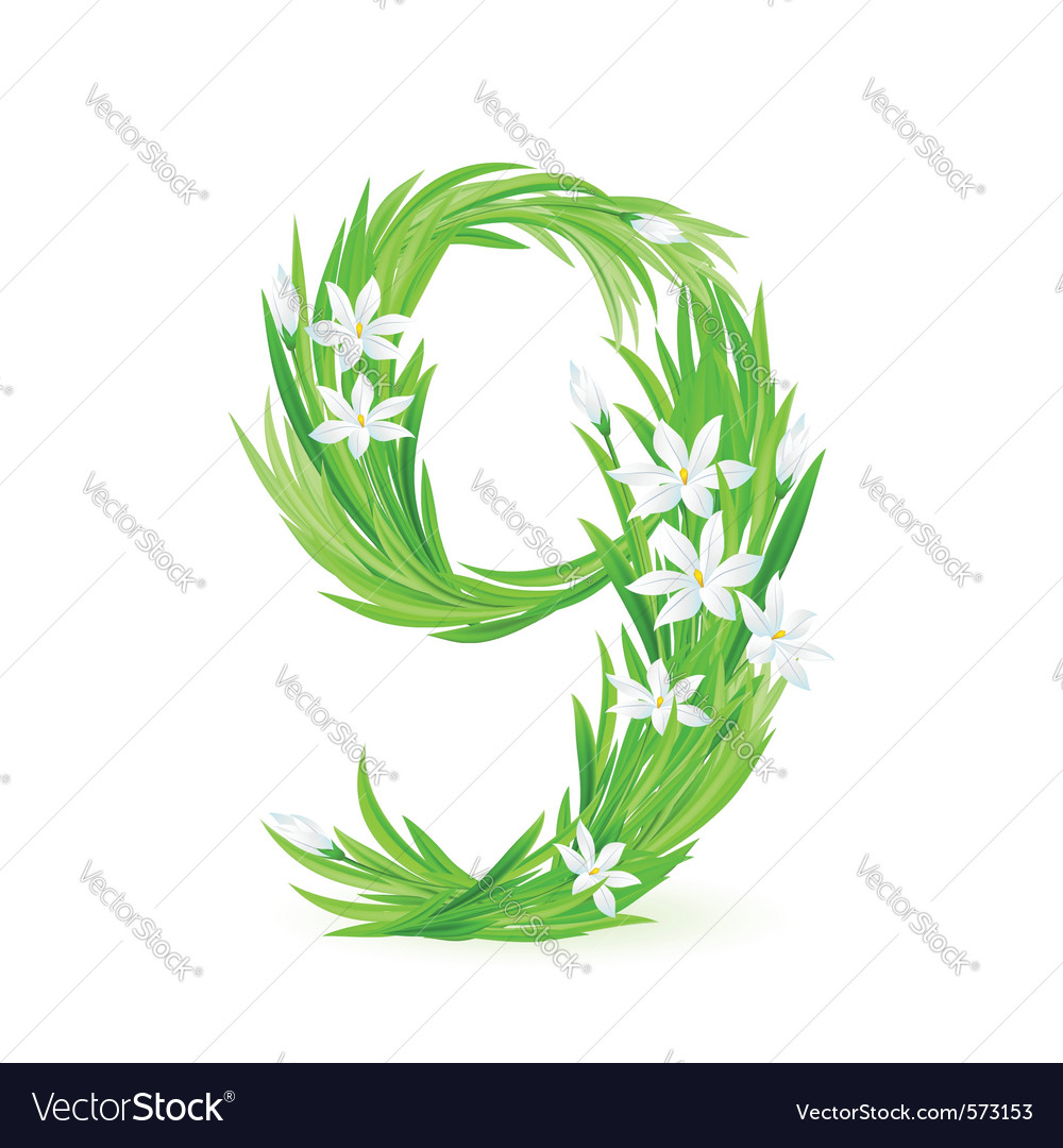 Grass letters number 9 vector