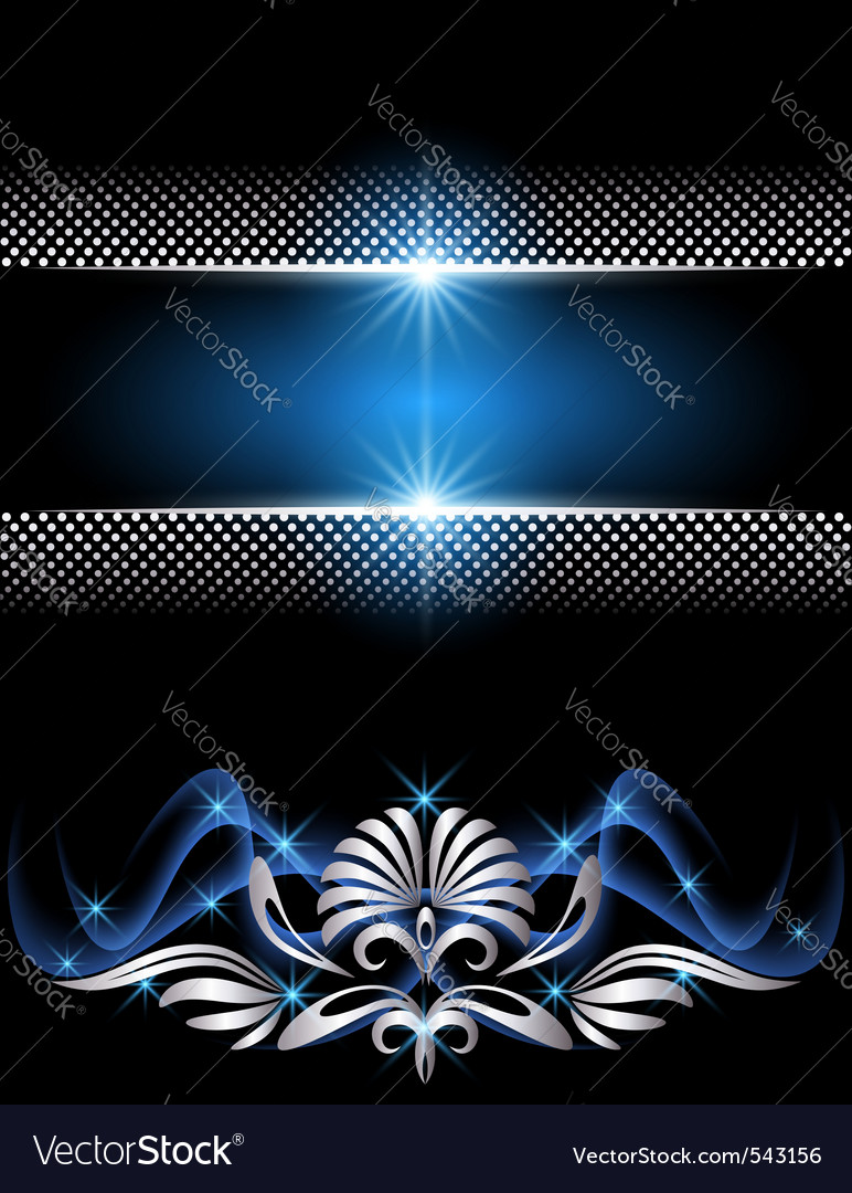 Glowing silver ornament vector