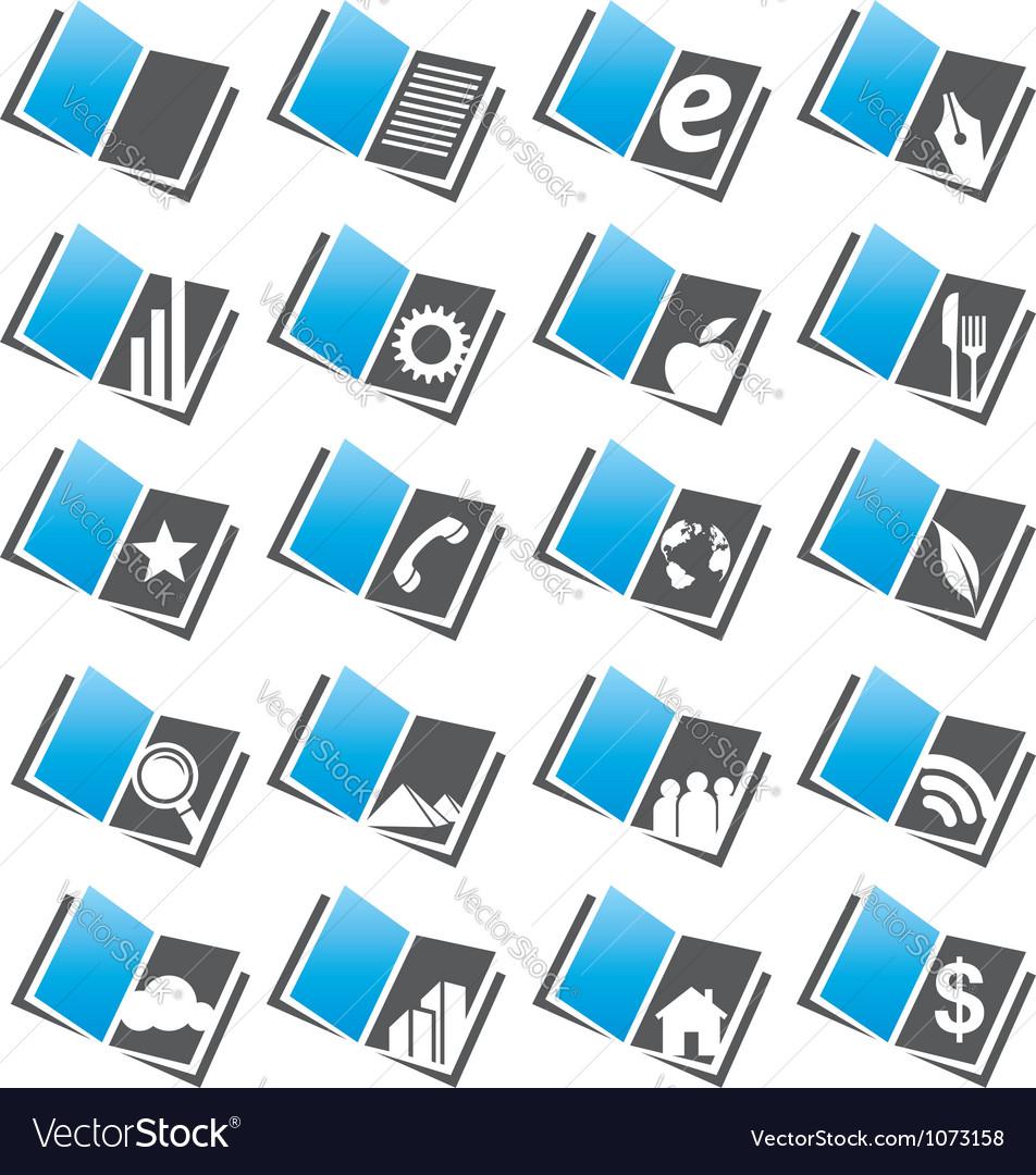 Book icons set and logo design concepts vector