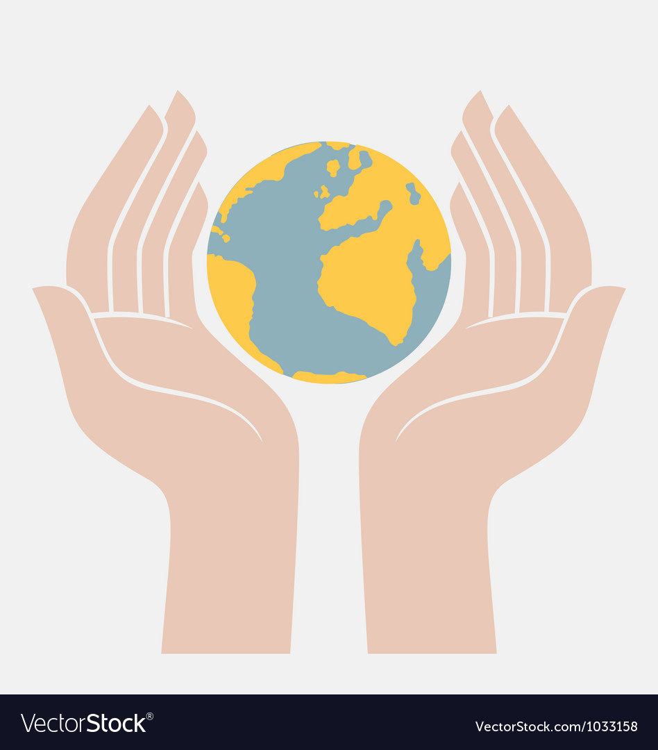 Earth protected by hands vector