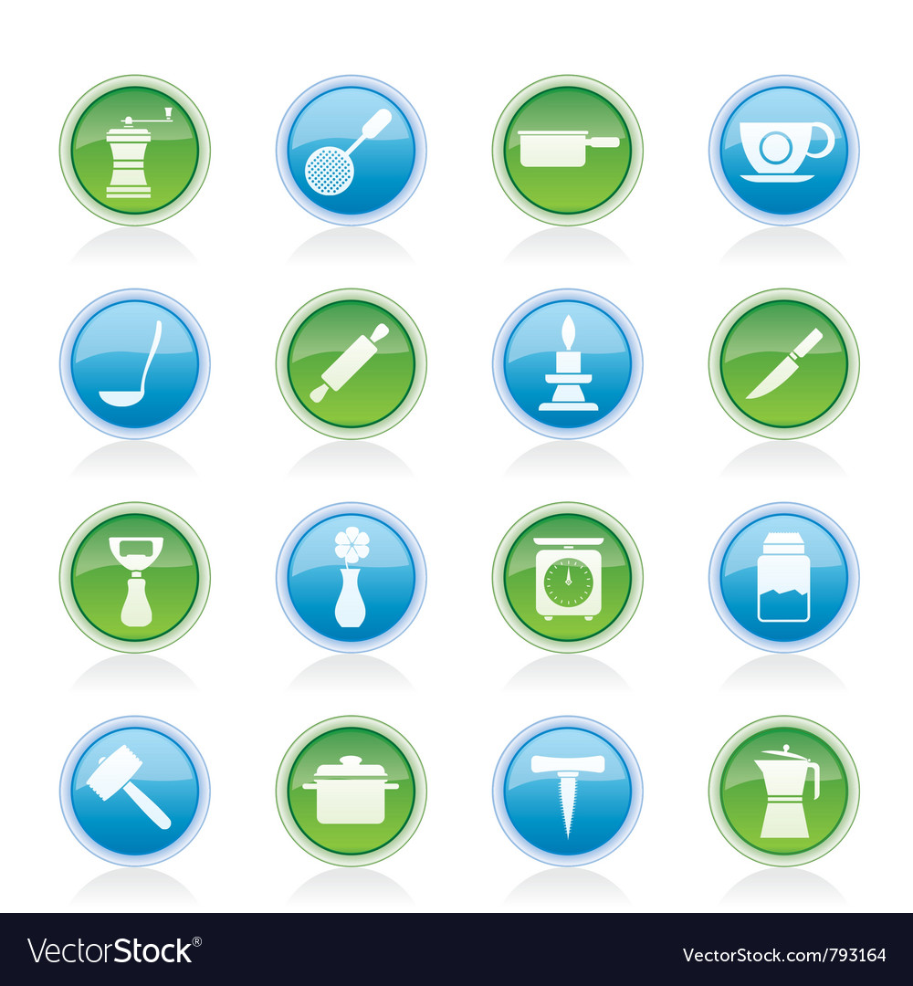Kitchen and household tools icons vector