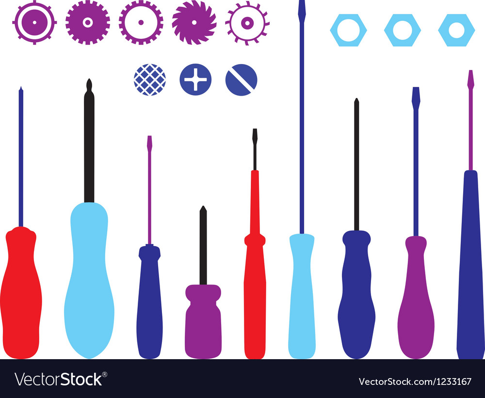 Screwdrivers gears and caps silhouettes set vector