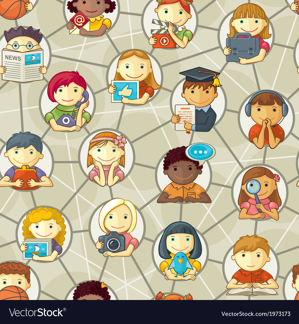 Seamless pattern cute personages in social network vector