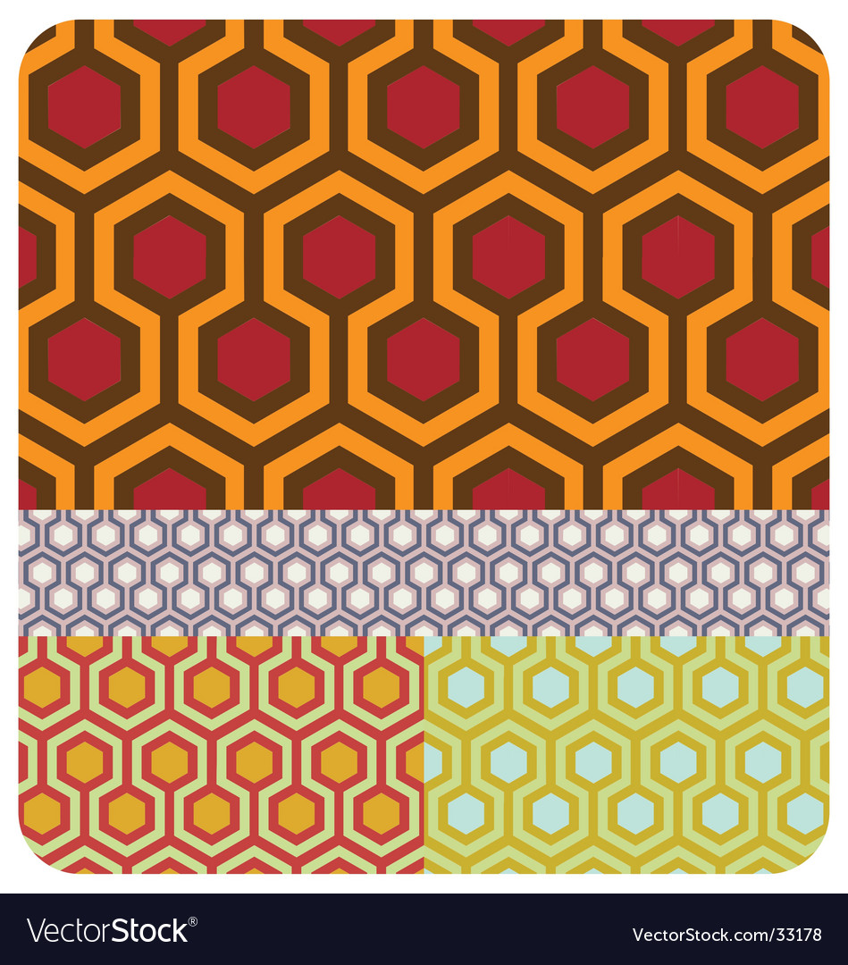 Seamless honeycomb pattern set of vector