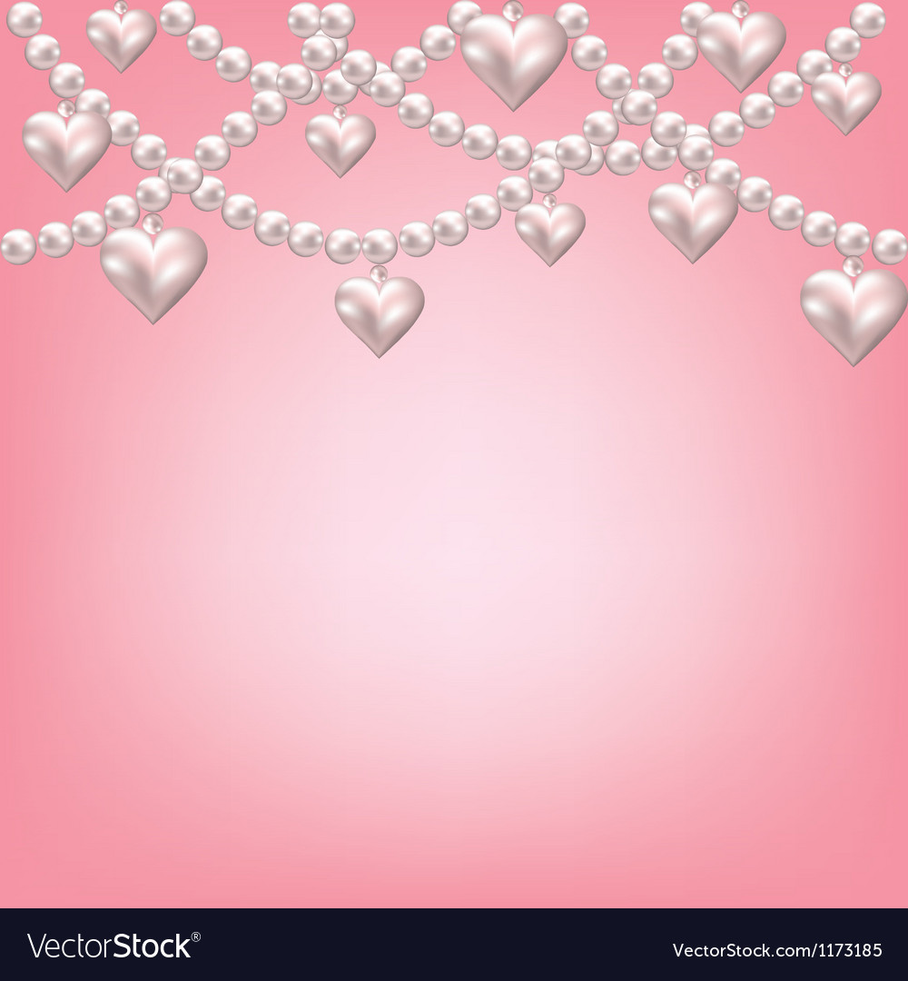 Heart pearl necklace vector