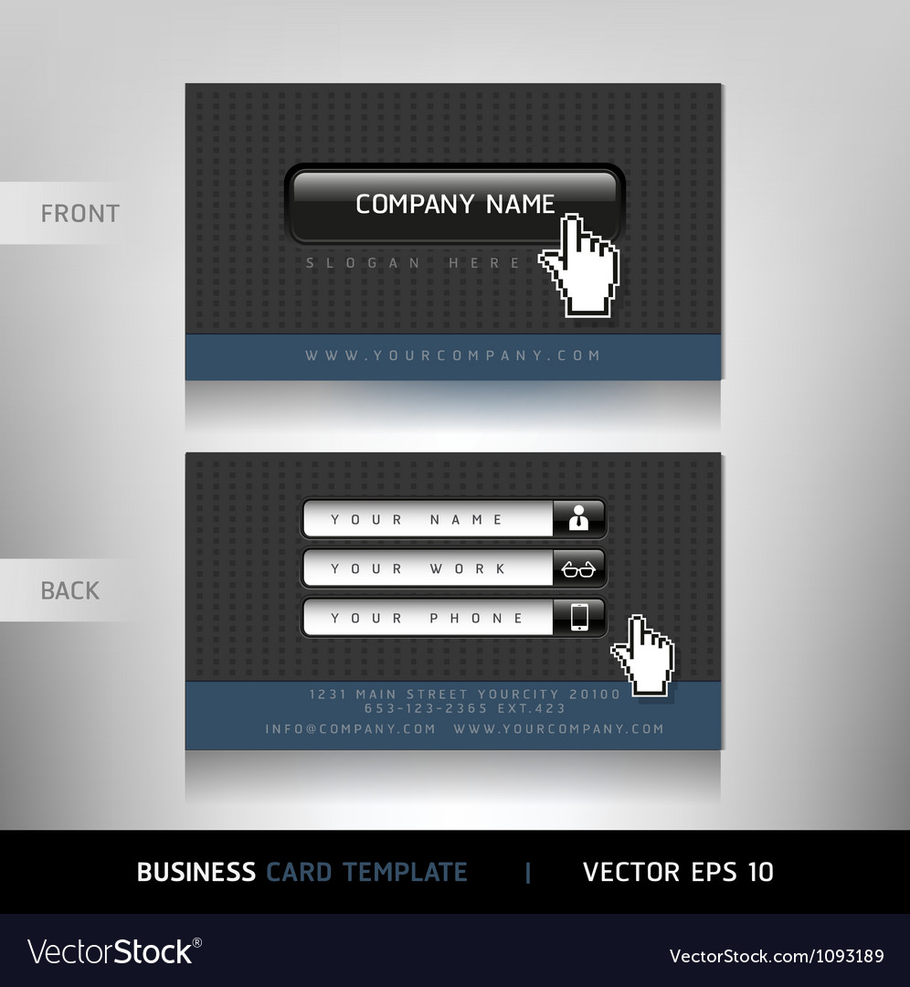 Business card website buttons style vector