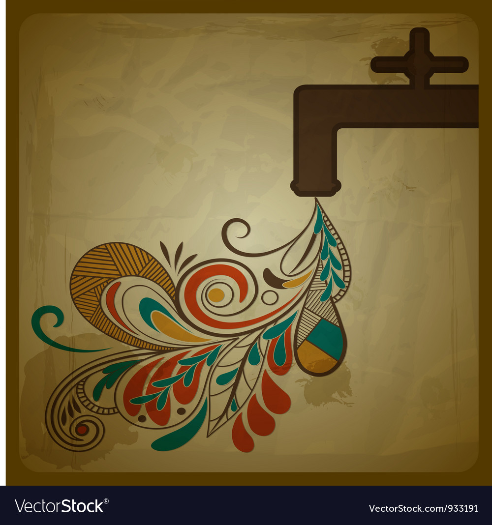 Eco concept composition with a water tap and flora vector