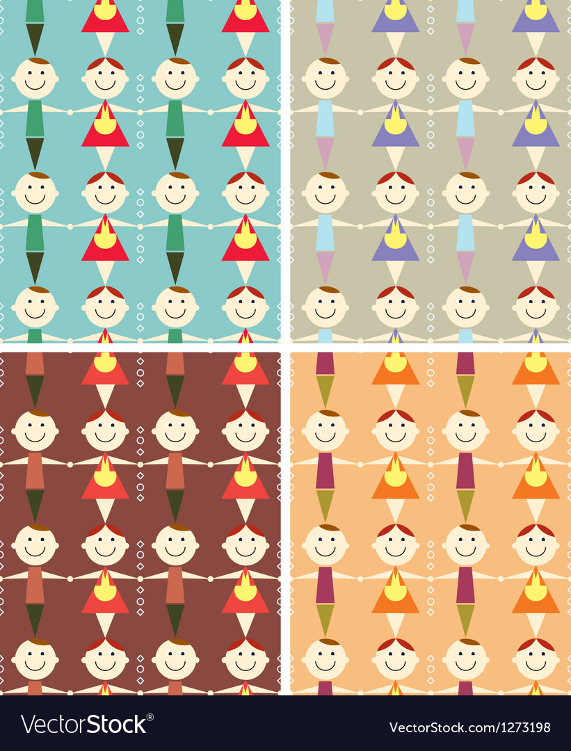 Seamless children pattern vector