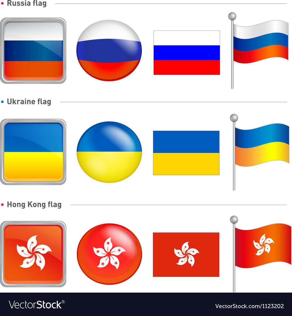 Russia and ukraine hong kong flag icon vector
