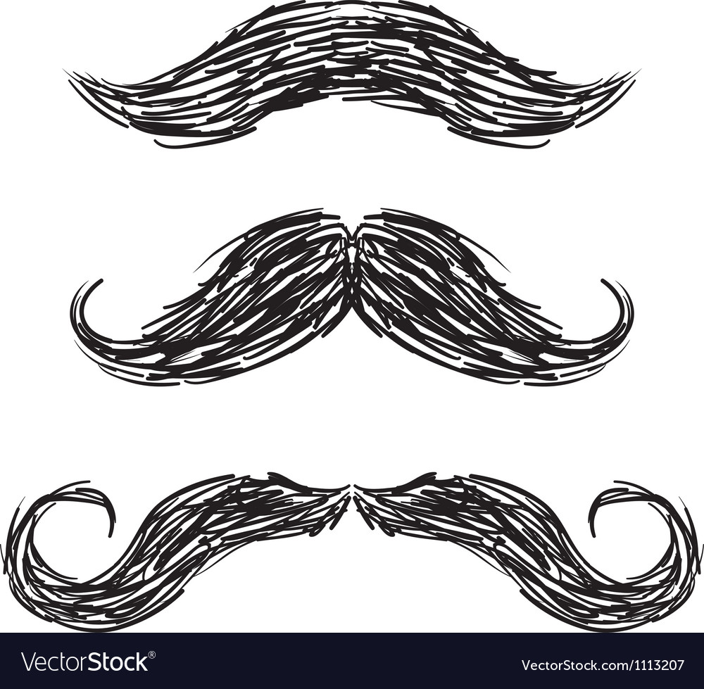 Doodle mustaches handlebar vector