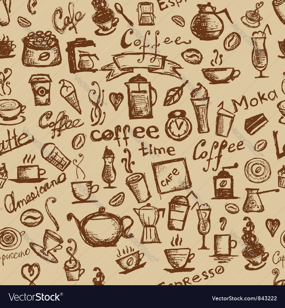 Coffee time seamless vector