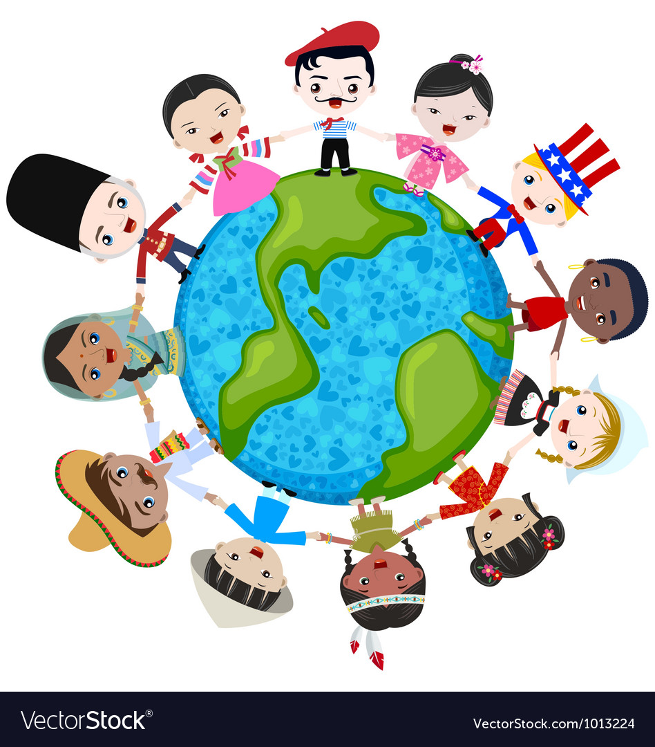 Earth multicultural children vector