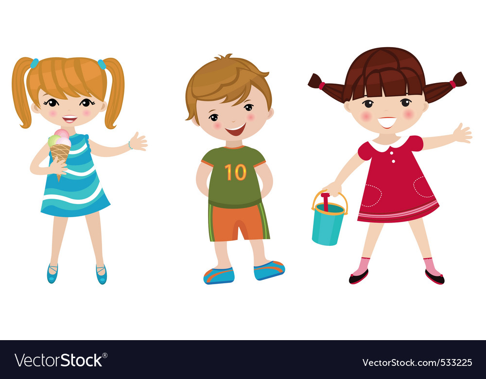 Three happy kids vector
