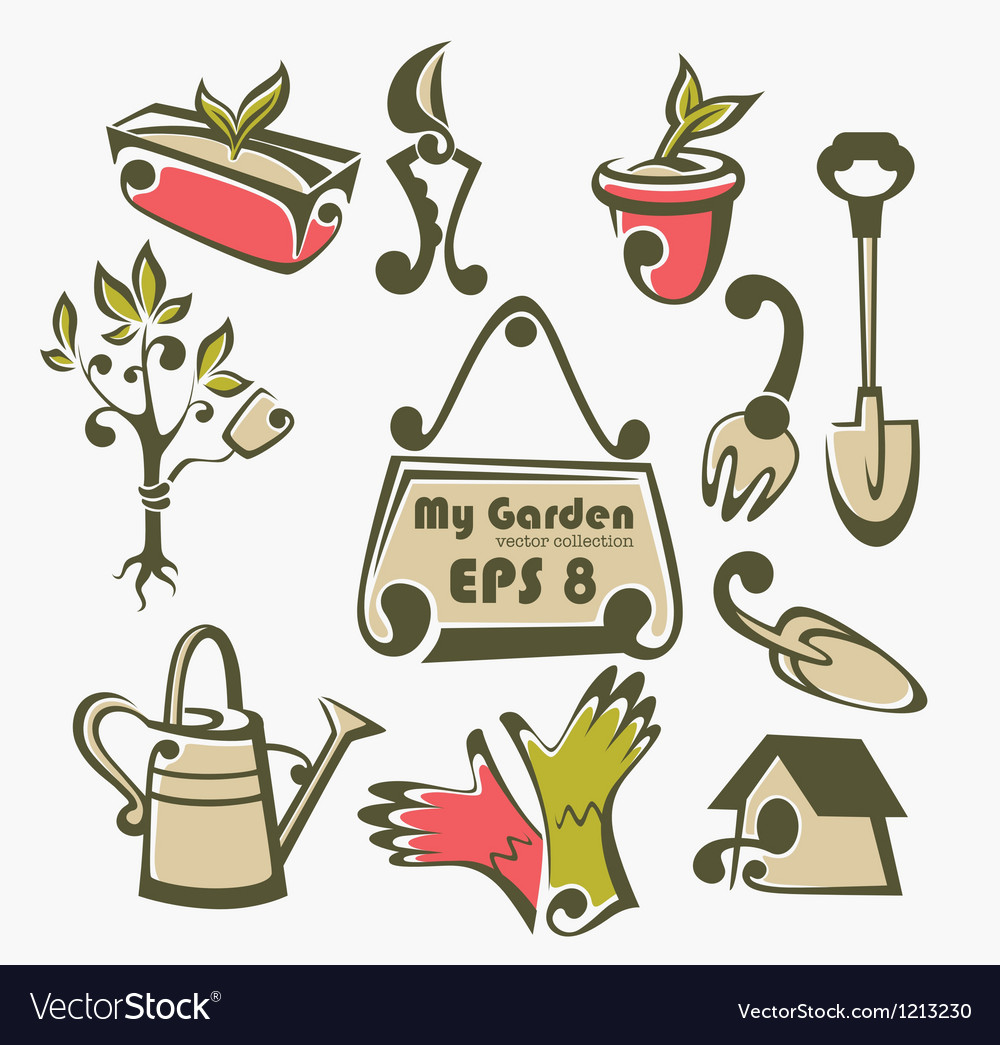 Gardening tools objects and equipment vector